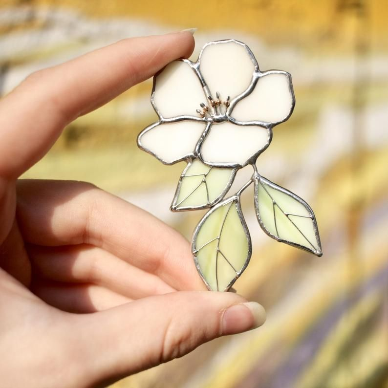 Stained glass brooch - Apple tree - Milk color - Beautiful flower -   beauty Art stained glass