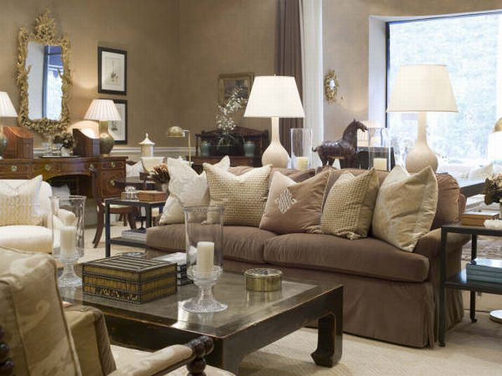 I Like The Soft Light Pillows On The Brown Sofa Would Add A Bone Colored Throw The Gold Mirror