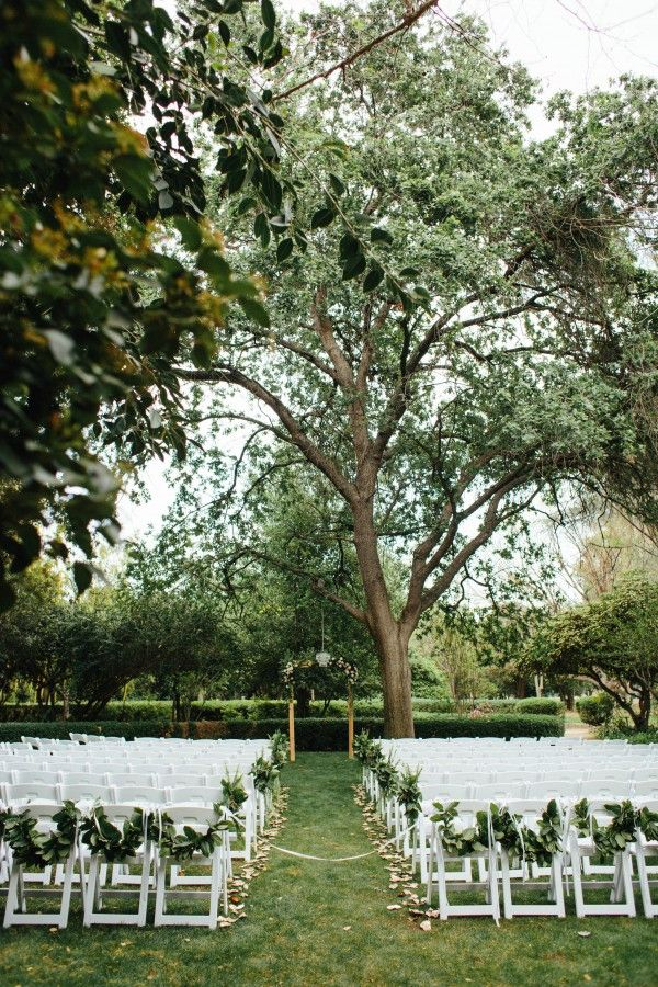 Gorgeous Wedding At The Orcutt Ranch Horticulture Center Junebug Weddings Greenery Wedding Decor Orcutt Ranch Greenery Wedding