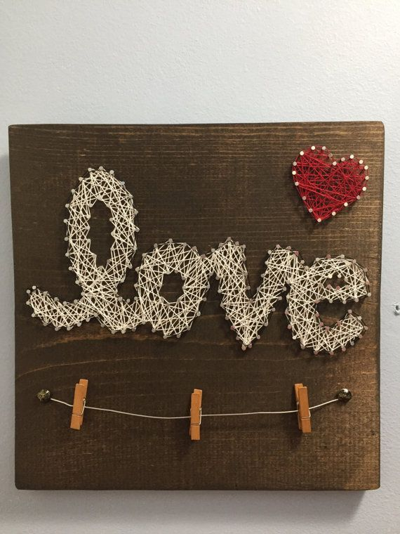 Articoli simili a Love - String Art with Picture Holder su Etsy