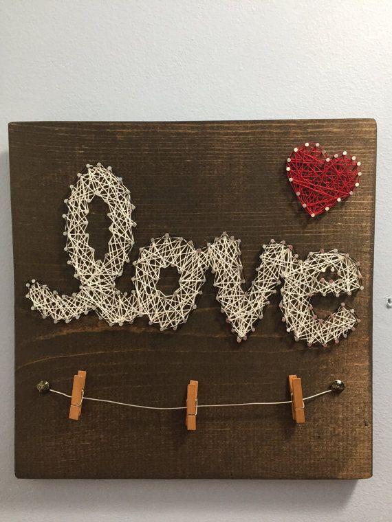 Articoli simili a Love - String Art with Picture Holder su Etsy