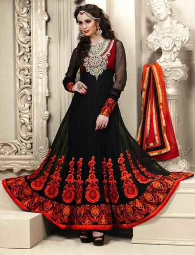 $108.19 Black Net A Line Embroidered and Stone Work Anarkali ...