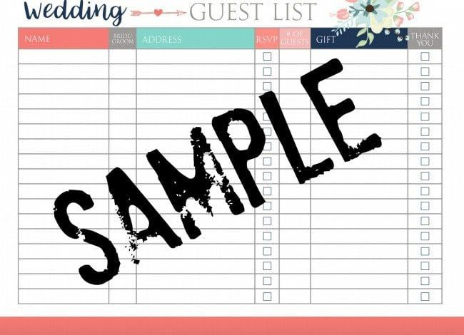 FREE Wedding Planning Printables wedding Pinterest Free - sample wedding guest list