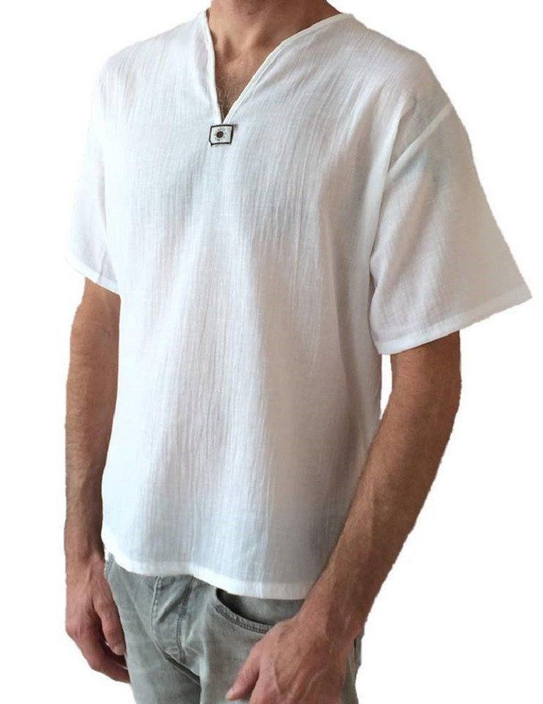 82bf6dfd751 Thai 100% Cotton Shirts in white are soft and light weight. So comfortable  to wear and soft on the skin. Stylish V-Neck with feature design underneath  make ...