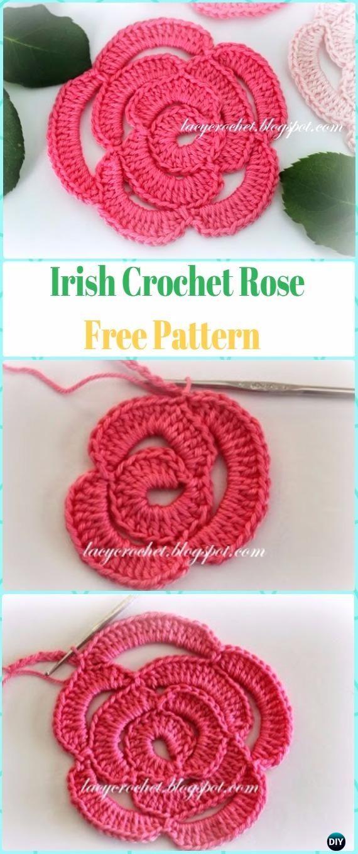 Irish Crochet Rose Flower Free Pattern Crochet 3d Rose Flower Free