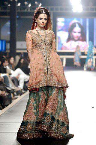 Pink And Green Or Gold This Color Combo With For Reception Indian Bridal WearPakistani