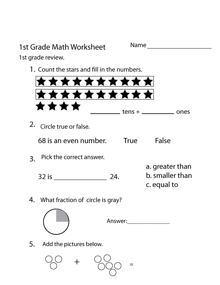 Free Homeschool Worksheets 1st grade math worksheets