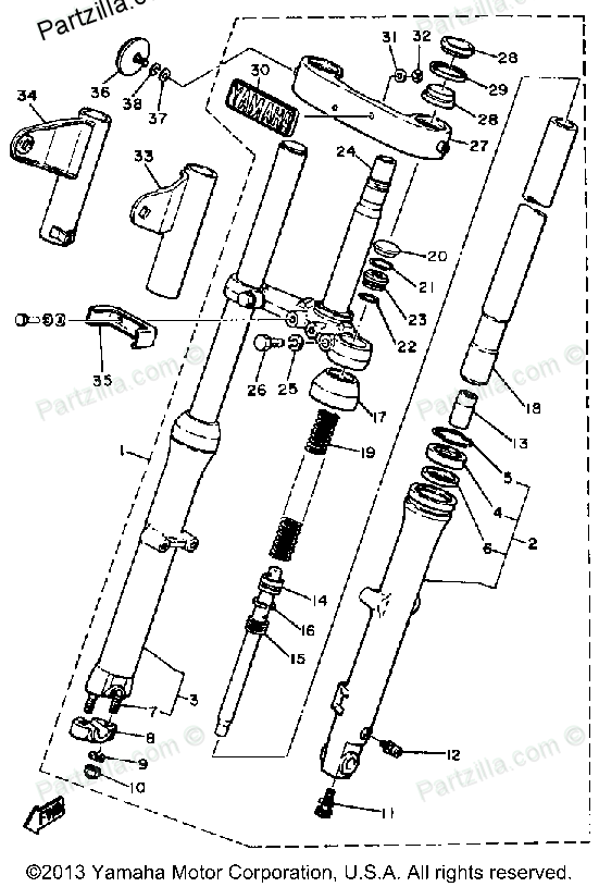 Diagram of Yamaha Motorcycle Parts 1981 XS400 - XS400H FRONT