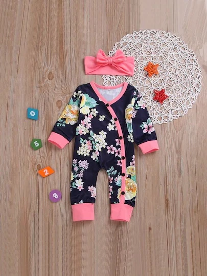 Baby Floral Print Button Placket Jumpsuit With Headband