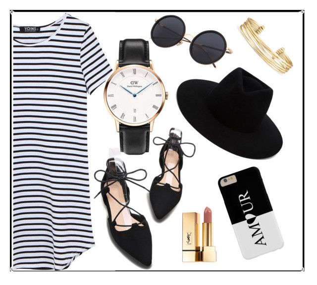 """Little Black T-Shirt Dress"" by daniel-wellington ❤ liked on Polyvore featuring rag & bone, Yves Saint Laurent and Stella & Dot"