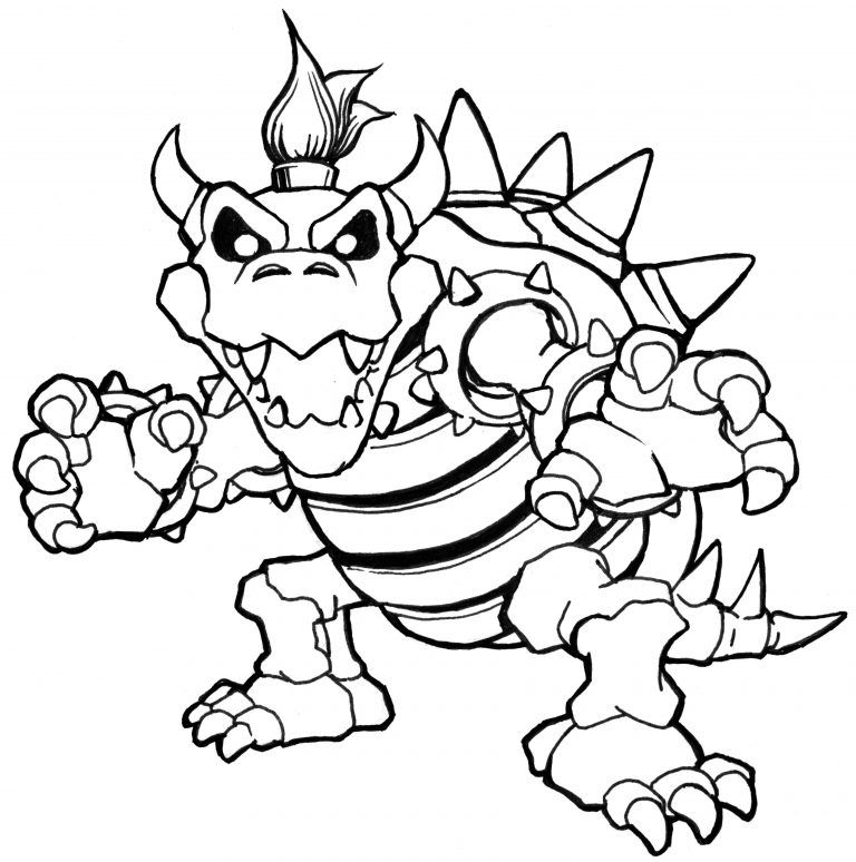 bowser to color Super Mario Bros Bowser Coloring Pages