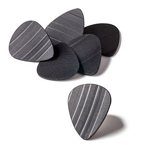 guitar picks made from recycled vinyl records -- how appropriate (and a great use for records that weren't exactly hits :)