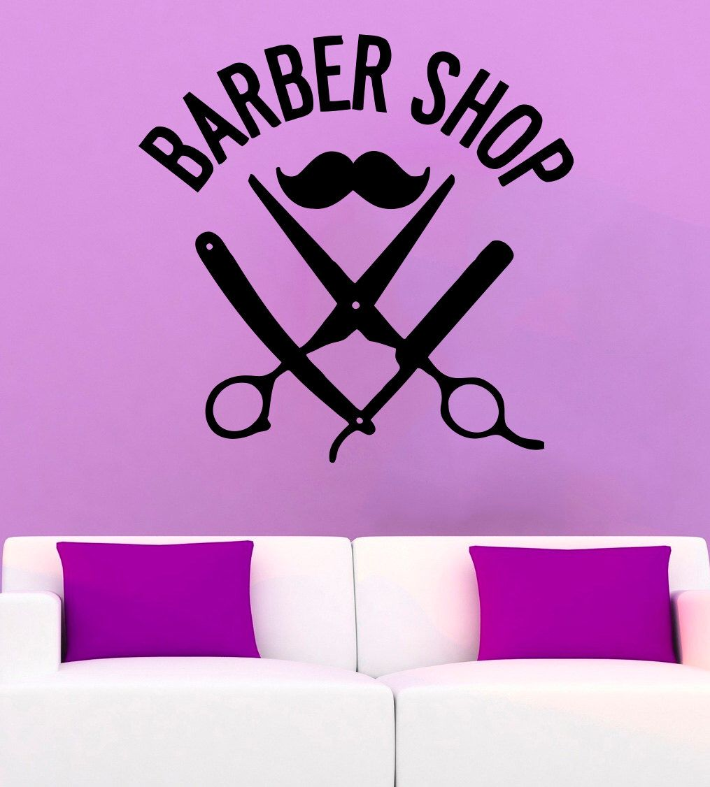 Barber Shop Vinyl Decal Barber Shop Wall Sticker Salon Wall Decals - Vinyl decals for walls etsy