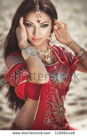 248c81cfed Beautiful young indian woman in traditional clothing with bridal makeup and  jewelry. gorgeous brunette bride