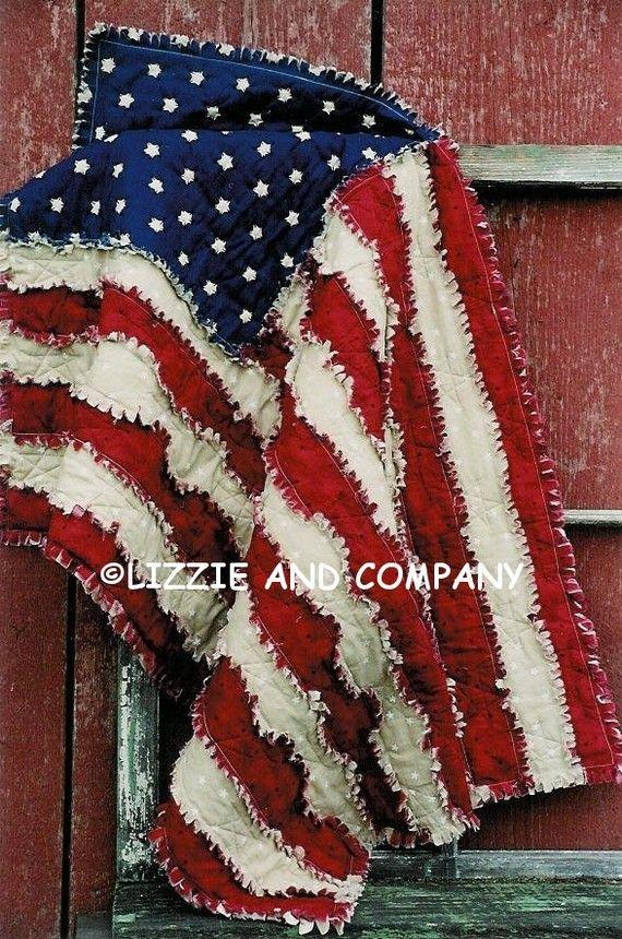 RaG FLaG QUiLT - PDF ePattern - Primitive Raggedy American Flag. $6.00, via Etsy.