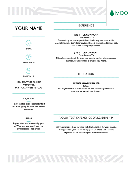 Creative resume, designed by MOO Online resume template