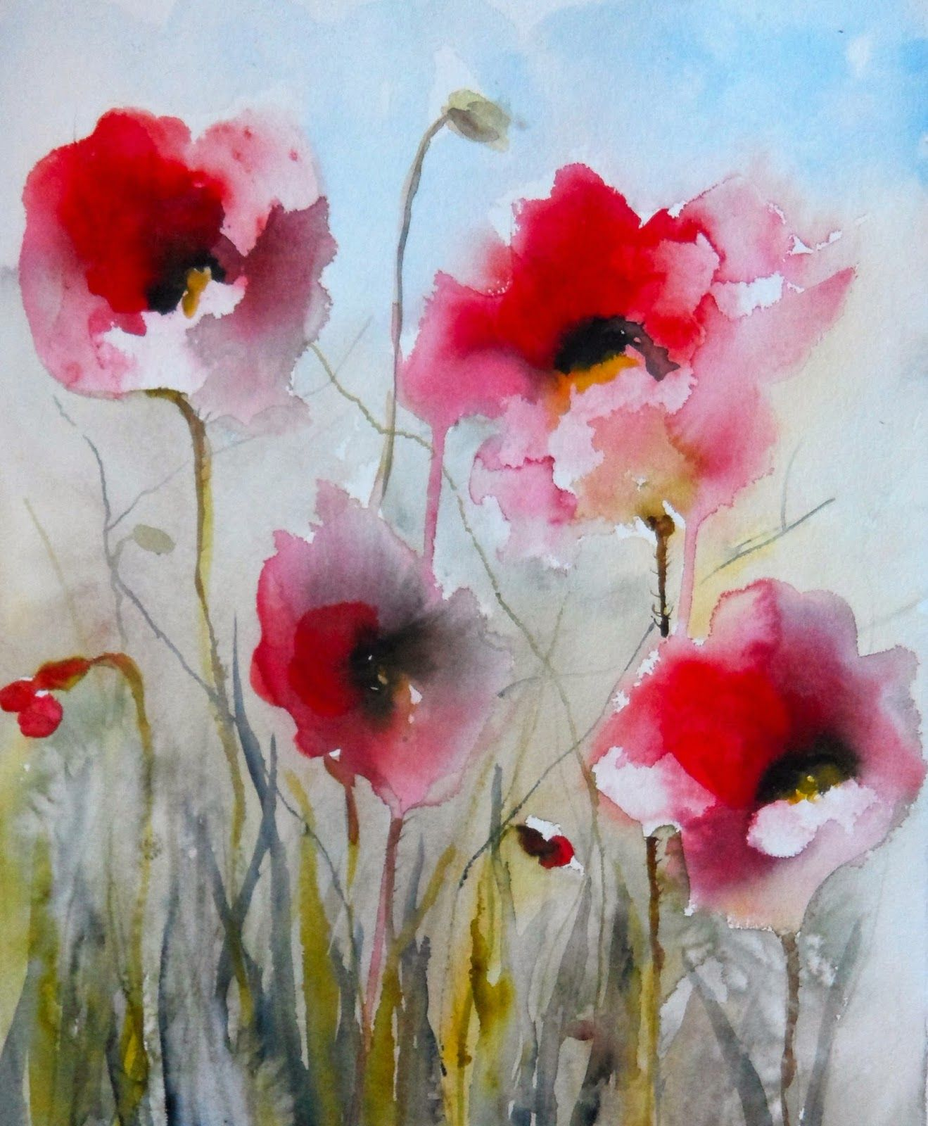Karin Johannesson Contemporary Watercolour: POPPIES ...