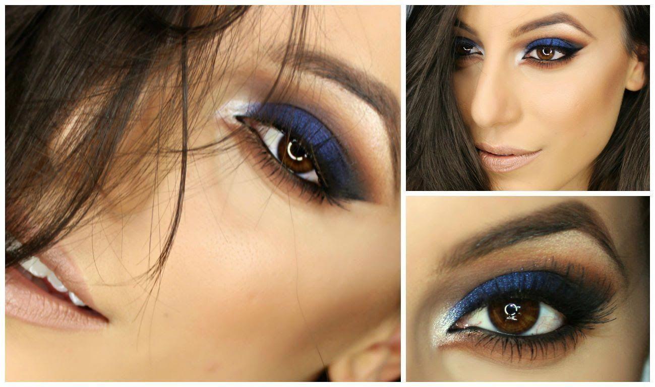 Navy Blue Smokey Eye Full Make Up Tutorial... learn to