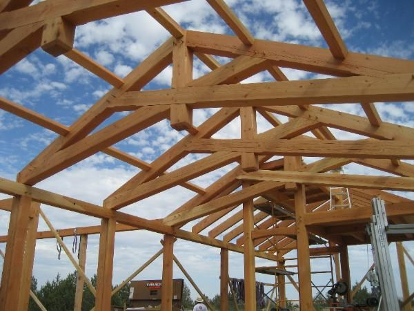Scissor Trusses With A King Post Timber Frame Joinery Scissor Truss Timber Frame Plans