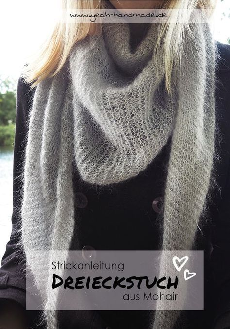 Photo of Knit DIY triangular scarf from mohair wool yourself