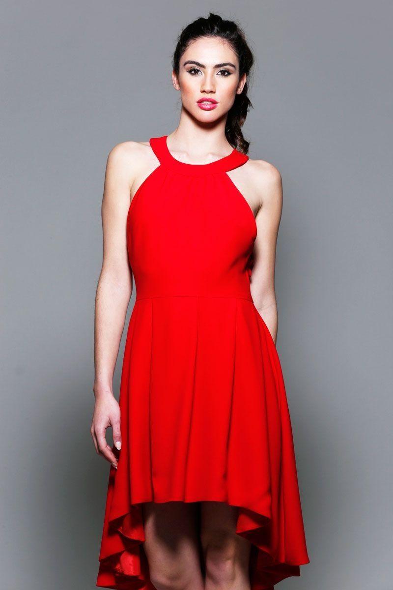 3b0908cbeffe2 vestidos rojos de fiesta asimetricos con escote halter para boda evento  coctel bautizo comunion graduacion de apparentia collection