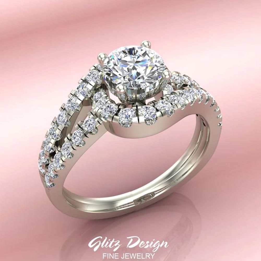 Waves Style Split Shank Diamond Halo Engagement Ring 1.25 carat ...