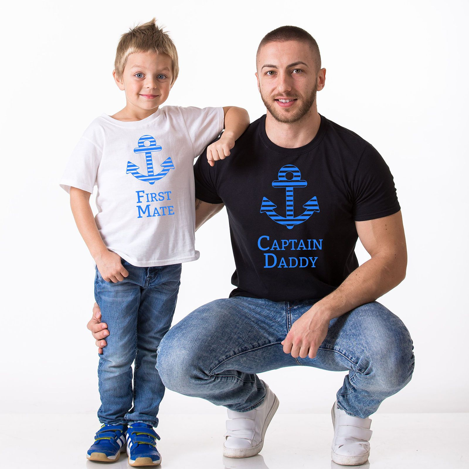 bf3fb080 Father Son Matching T-Shirts Captain Daddy - First Mate Daddy And Me  Fathers Day