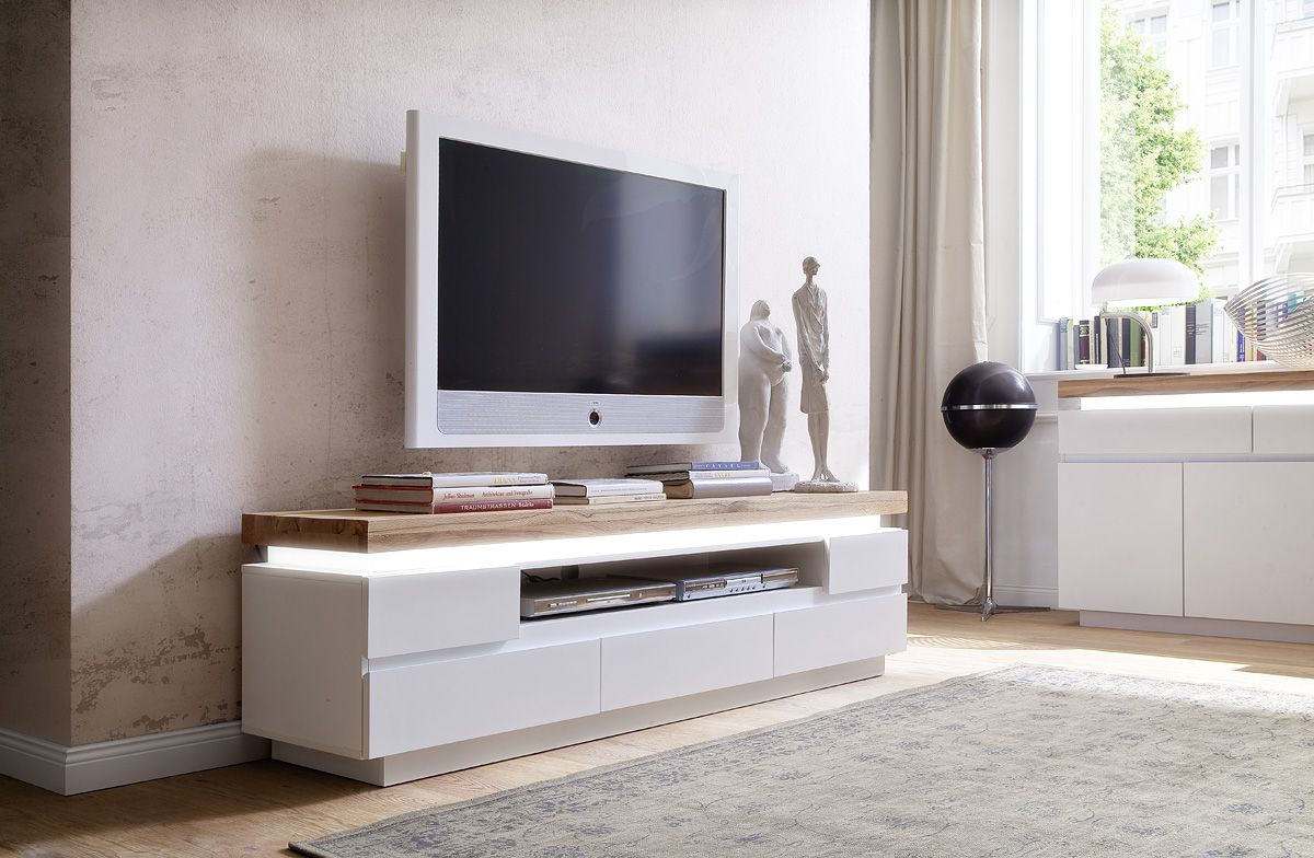 Crafted In A Domina High Gloss Finish The Tv Media Stands Is A  # Meuble Tv Gris Led