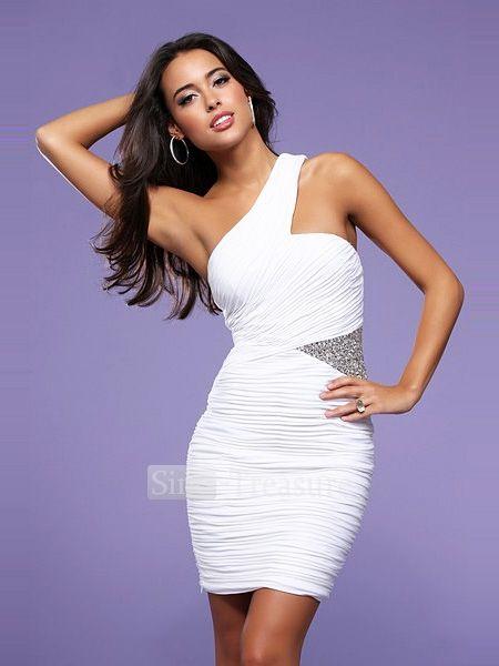 One Shoulder White Cocktail Dress - Ocodea.com
