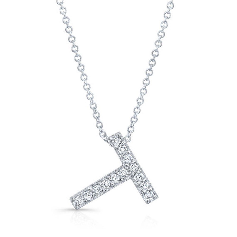 Ct natural diamond necklace k white gold initial pendant