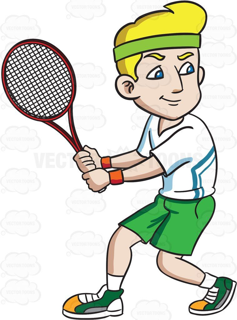 A Smiling Tennis Player Preparing To Hit A Ball With His Racket Tennis Players Green Headband Tennis