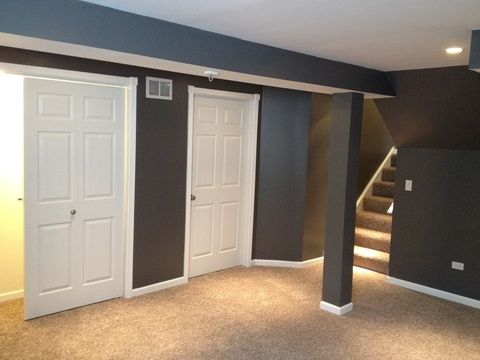Contemporary Basement With Wall To Wall Carpet Beautiful Grey