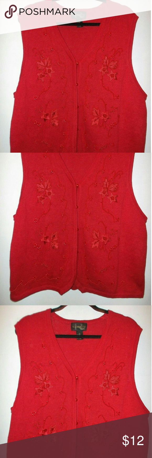 Red Poinsettia Sweater Vest Womens Plus 2X Requirements Woman ...
