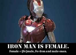 Fe means iron, male means man. Therefore, I am iron man.