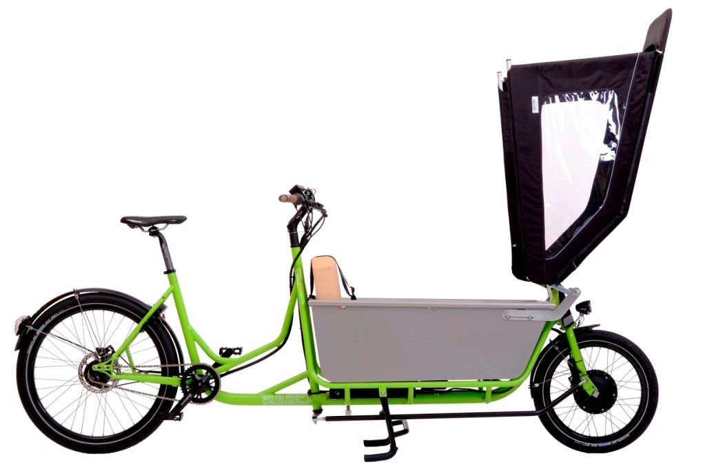 unser familienfahrrad auch mit regenverdeck cargobike lastenrad rapid family. Black Bedroom Furniture Sets. Home Design Ideas