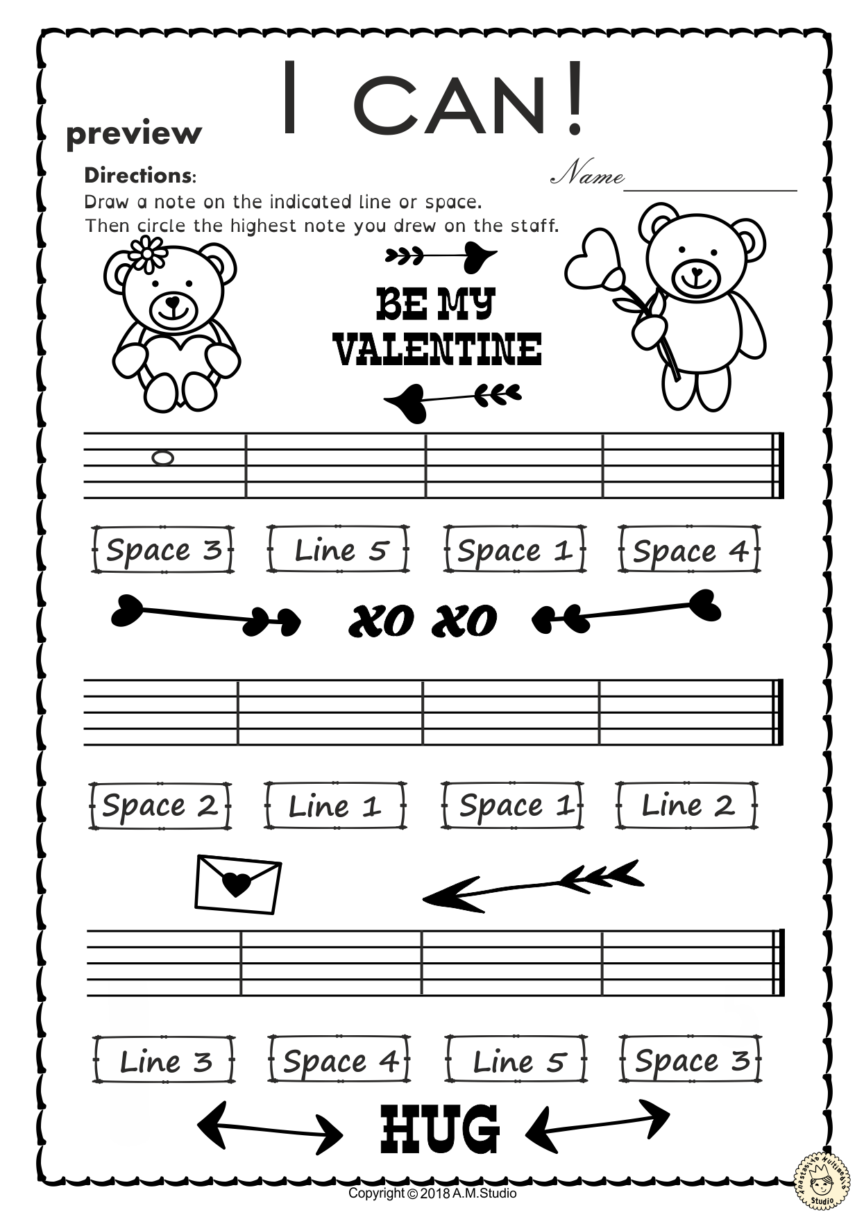 Valentine S Day Music Worksheets Line Space High Low