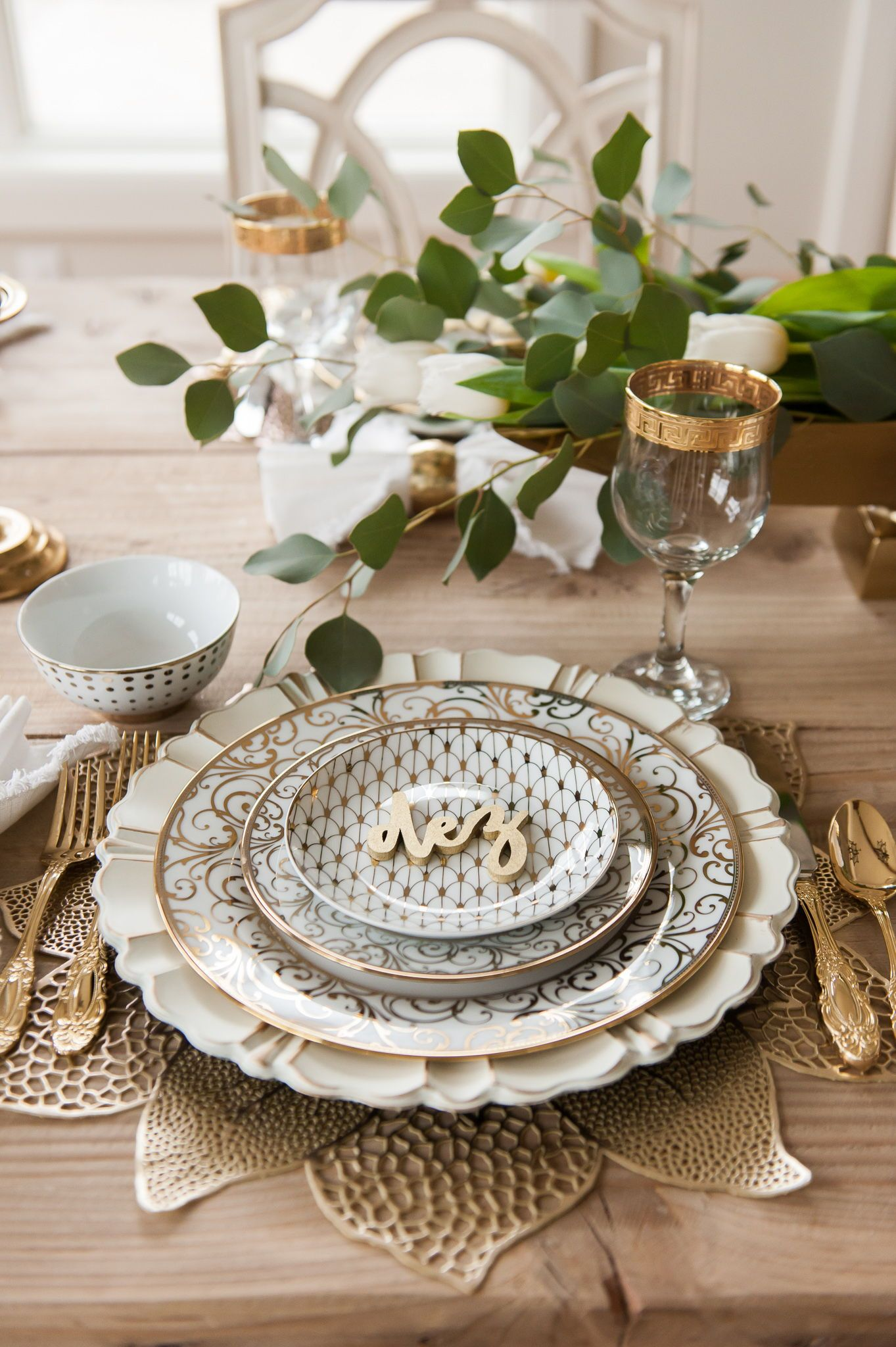 Home With Holly J Spring Tablescape Gold Tablescape Gold