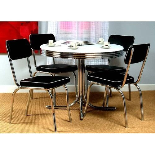 This 5 Piece Retro Dining Set With Round Table And 4 Chairs Would Cool Retro Dining Room Tables Decorating Design