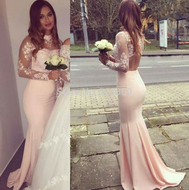 Discount Peach Long Sleeve Lace Prom Dress | 2017 Peach Long ...