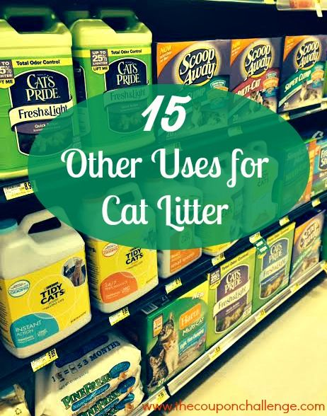 Other than for the obvious kitty purpose, did you know that cat litter can be used to absorb grease?  If not, here are 15 Other Uses for Cat Litter - some of them will surprise you!