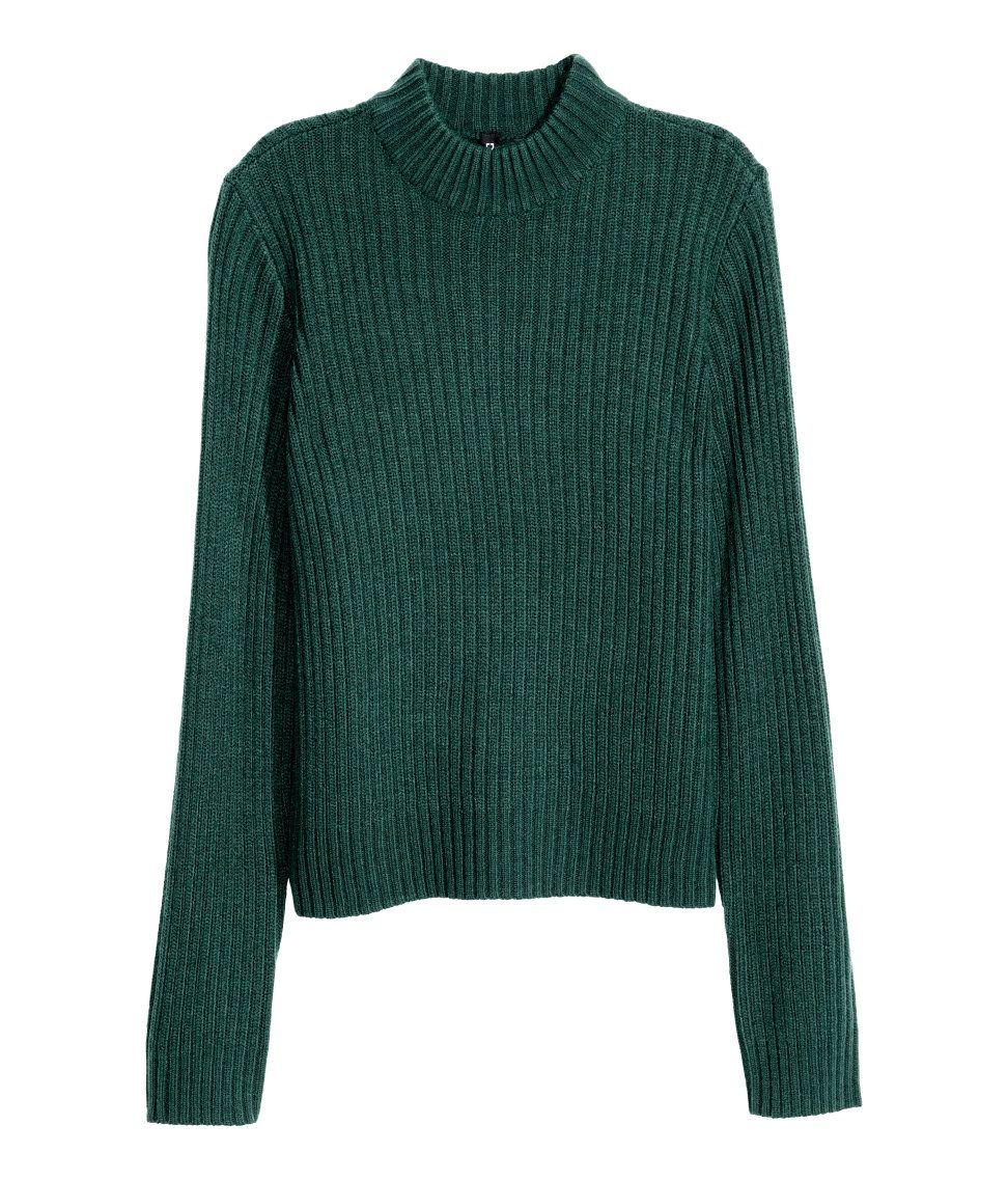 Rib-knit Sweater | Emerald green | Ladies | H&M US | Kirsten shoot ...