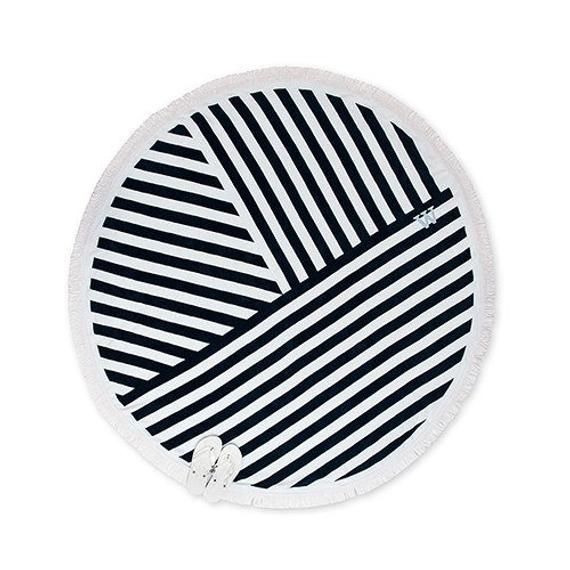 Personalized Beach Towel Circular Towel Navy And White Stripes