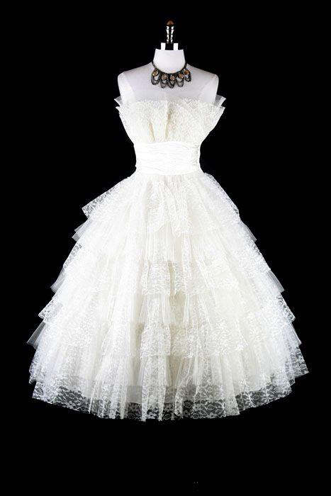 1950s tiered lace at Artifact Bridal. #weddingdress