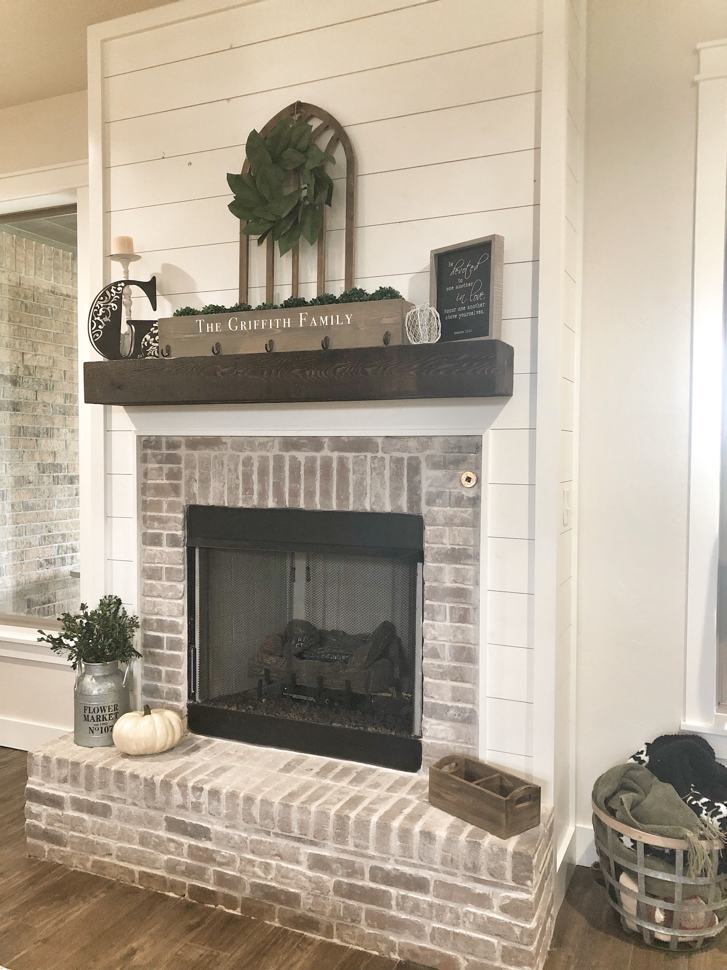 Shiplap Fireplace With Brick Surround And Hearth Modern Design In 2020 Shiplap Fireplace Brick Fireplace Makeover Diy Shiplap Fireplace
