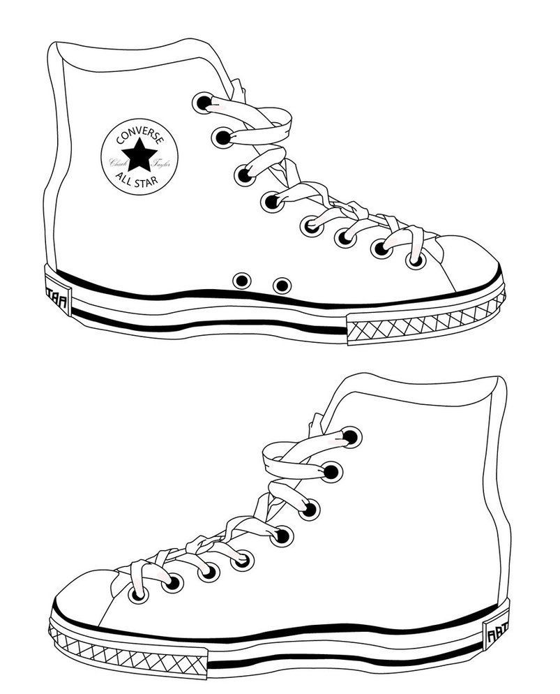 Converse Shoe Outline Converse Shoe Sneakers Illustration