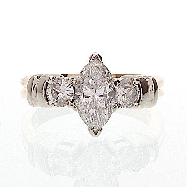 10447cf019401 Striking 14K yellow   white gold 3 diamond engagement ring. The ...