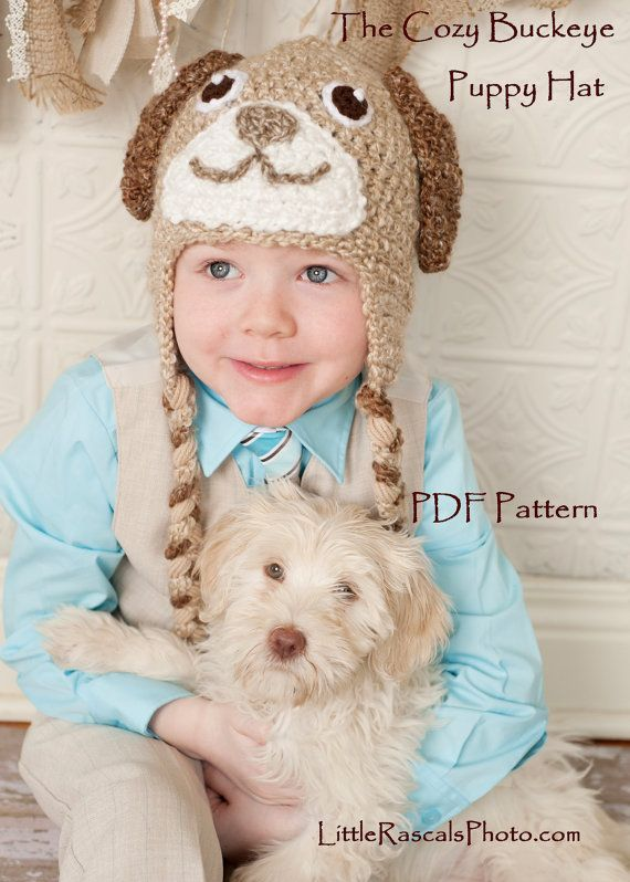 Instant Download Crochet Pattern Puppy Dog Hat Animal Character