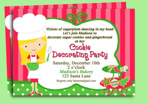 Christmas Cookie Invitation Printable or Printed with FREE SHIPPING