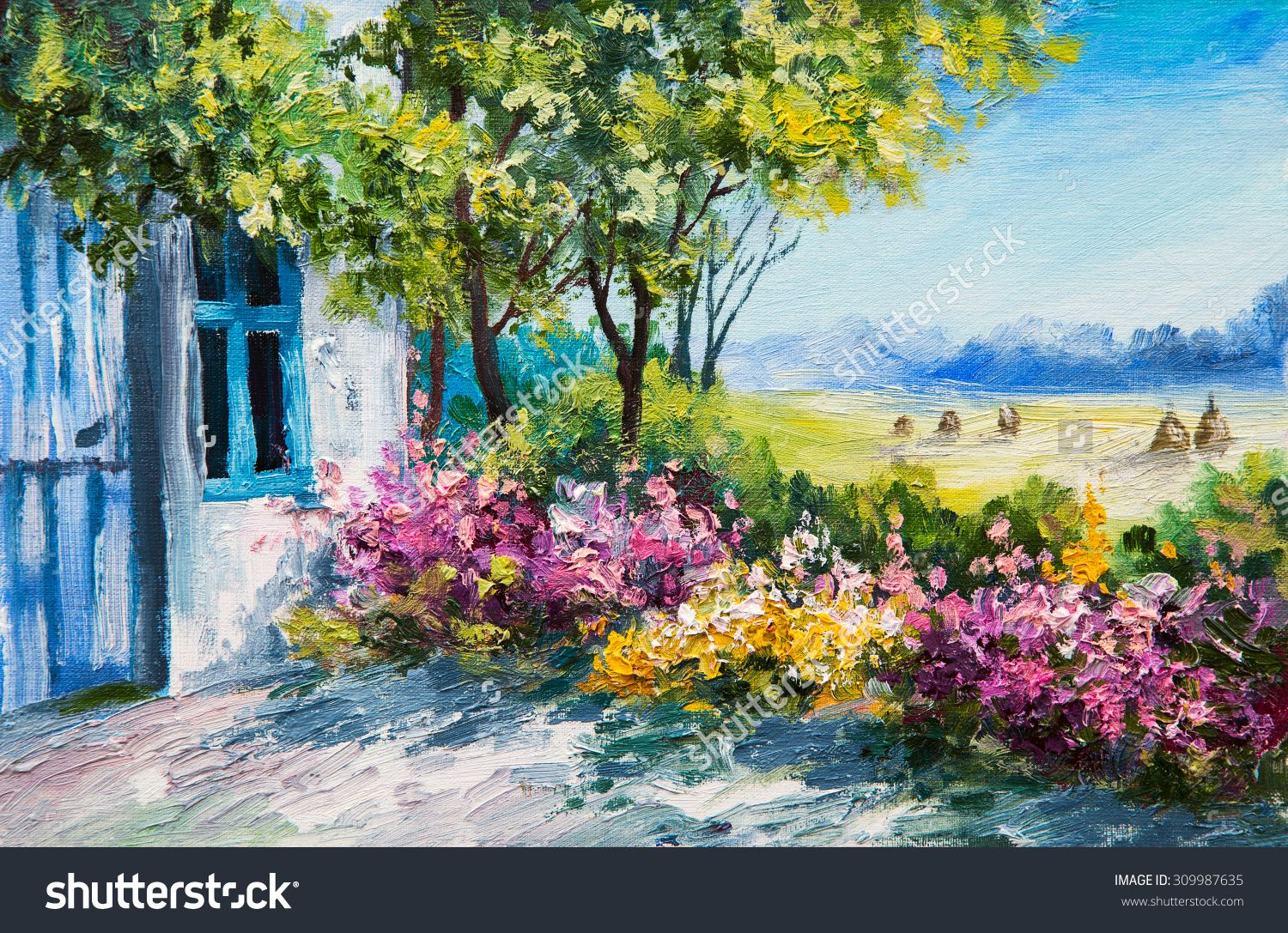 Oil painting landscape garden near the house colorful for Oil paintings for the home