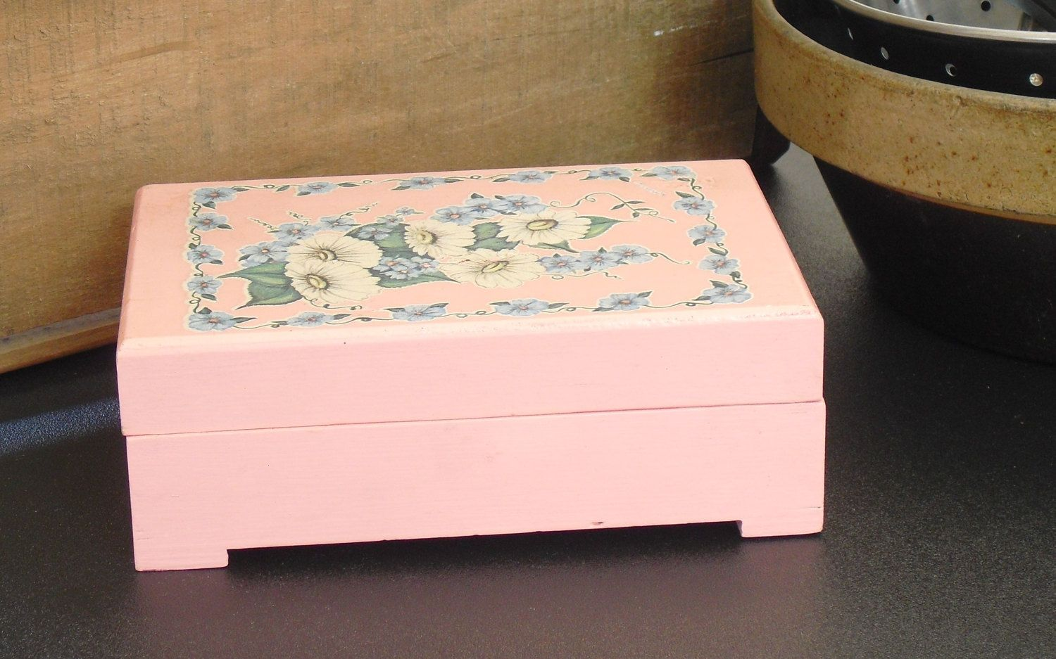 Vintage Childs Hand Painted Floral Jewelry Box, Pink Wooden Jewelry Box, Storage Container, Bedroom Decor, Pink Jewelry Chest, Girls Old Box by AgsVintageCove on Etsy